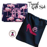 Monogrammed FLAMINGO Travel 2 Piece Gift Set - Navy & Pink Flamingo - FREE SHIP