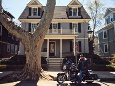 """Stan Ellsworth of """"American Ride"""" at President John F. Kennedy's birthplace and childhood home in Brookline, MA."""