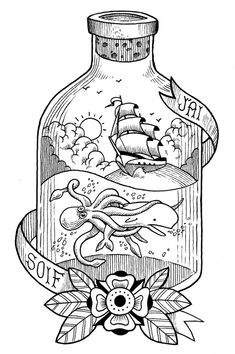 Love this idea. Traditional tattoo style bottle with ship and underwater scene