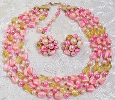 Vintage 50's 60's Four Strand Necklace & Clip On Earrings Pink & Yellow Glass http://www.ebay.com/itm/161298986604?ssPageName=STRK:MESELX:IT&_trksid=p3984.m1555.l2649