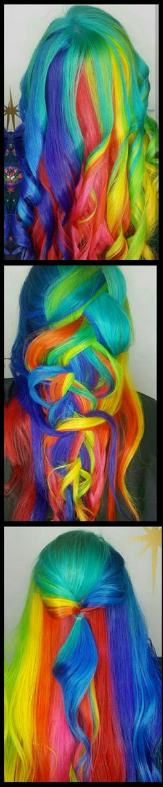 Rainbow dyed hair @lilrainb0w