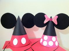 Minnie and Mickey Mouse party hats...love this idea