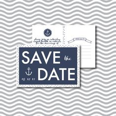 Printable Nautical Wedding Save The Date Postcard -  by rosepistachiopress, $23.00