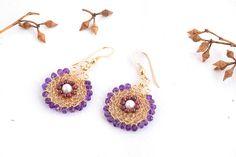 Ethnic Dangle Earrings, Amethyst Garnet Earrings, Gemstone Jewelry, 14K Gold Filled, Ethnic Style Jewelry,Gemstone Earrings,Unusual Earrings