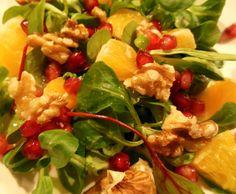 Salade met sinaasappel, granaatappel