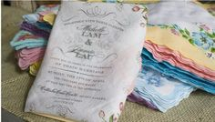 Handkerchief invitations are perfect for farm, country, ranch, and rustic weddings.