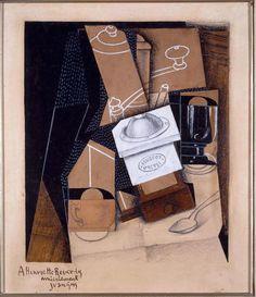 Juan Gris (José Victoriano González Pérez) • Moulin à café, tasse et verre sur une table (Molinillo de café, taza y copa sobre una mesa), 1915-16