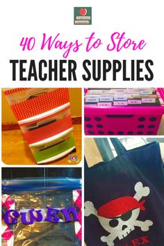 WOW! 40 ideas for storing teaching supplies in your organized classroom! Stop by and see them all! #classroomstorageideas #classroomstorageorganization