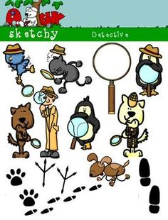 Detective clipart--perfect for many lessons! Color, black and white, and grayscale included.