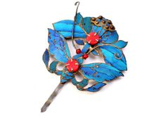 Antique Chinese kingfisher feather red glass jeweled butterfly and lotus flower hair pin decoration