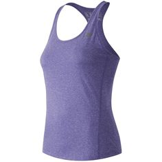 New Balance 53149 Women's Heathered Tank ($19) ❤ liked on Polyvore featuring activewear, activewear tops, purple, new balance, new balance activewear and logo sportswear