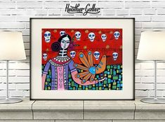50% SALE- Day of the Dead Art Print Poster of Heather Galler Painting, Mexican Folk Art Sugar Skulls Dia De Muertes