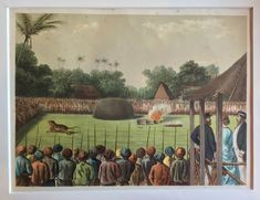 Rampokpartij, tiger fight by J.C. Rappard 1883 This print shows a Rampokpartij. A caught tiger was put in a cage in an open space surrounded by armed people. The cage was opened and the tiger...
