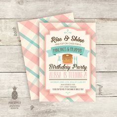 Pancakes and Pajamas Birthday Party Invitations  by PPDesignCo