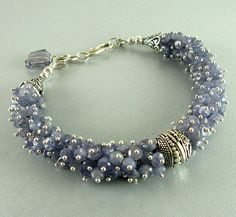 Blue Tanzanite and Sterling Cluster Bracelet by SurfAndSand, $329.00