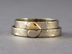 Solid Gold Heart Wedding Rings  3mm wide rings by LichenAndLychee, $575.00