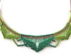 Macrame lotus necklace - statement necklace - micro macrame flower necklace - boho micro macrame necklace - macrame woodland jewelry