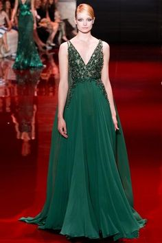 Emerald Green Evening Dresses Custom Made Elie Saab Celebrity Red Carpet Dresses with Beads A Line V Neck Formal Gown Online with $159.27/Piece on Mandybride's Store | DHgate.com
