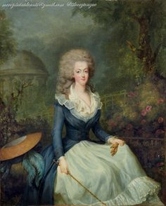 A portrait of Marie Antoinette in front of the Temple of Love at the Petit Trianon, attributed to Jean-Baptiste André Gautier-Dagoty.