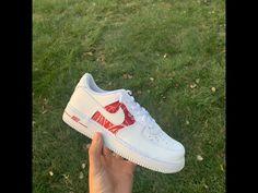 Red Bandana AF1 V1 (Stitched) by customsbyuriel Baby Sneakers, Custom Sneakers, Sneakers Nike, Nike Shoes, Air Force 1, Jordan 1 Red, Nike Af1, Red Bandana, Louis Vuitton Shoes