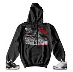 ccbffa3328b2 Hoody to match you Jordan Retro 3 black cement. ST Clothing - No Boost Hoody