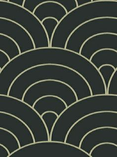 RTT159 | Retro Wall Paper - 1970s Collection - Fans Wh on Black - #RTT-15