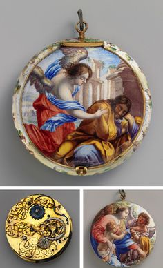 Watch, ca. 1645-50  Movement by Jacques Goullons, or Coullons (French, recorded 1626, died 1671)  Case and dial: painted enamel on gold; Movement: gilded brass, steel, partly blued, and silver