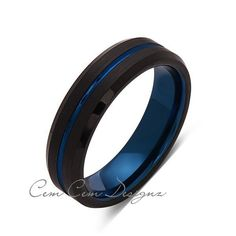 6mm,New,Unique,Black Brushed, Blue Groove,Tungsten Ring,Mens Wedding Band,Blue Ring