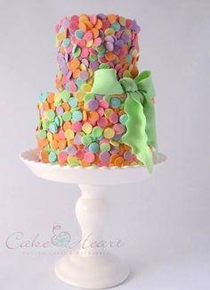 Explosion of Pastel Colored Confetti Cake