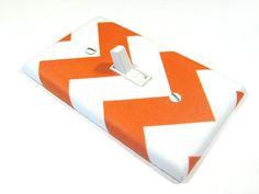 White and Orange Chevron Riley Tangerine Tango Light Switch Cover Zig Zag Modern Home Decor Outlet Rocker Dimmer
