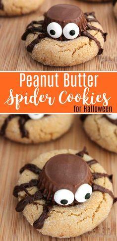 Cute & Creepy! Halloween Peanut Butter Spider Cookies Recipe