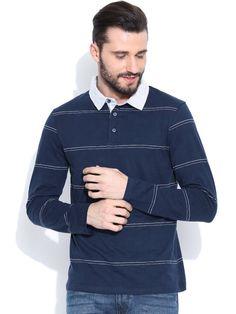 Dream of Glory Inc. Navy Striped Polo T-shirt