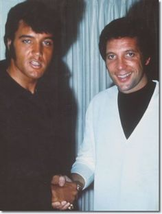 with Tom Jones...Elvis and Tom Jones had a close friendship and admiration for each other's talents. Elvis would often join Tom during his Las Vegas show and sing and clown around together to the delight of the audience. They often exchanged expensive gifts with each other.