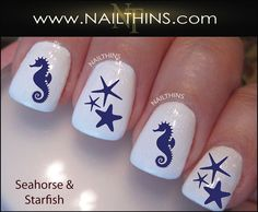 Nail Decals Seahorse and Starfish nail art designs by by NAILTHINS, $4.00