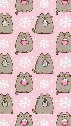 Pusheen the cat iPhone wallpaper background winter snow lattes