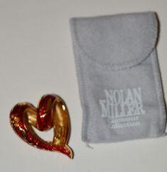 "NOLAN MILLER GLAMOUR COLLECTION ""GUILLOCHE"" RED ENAMEL HEART SLIDE"