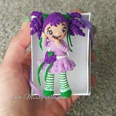 3 8cm Grape Jelly Girl. Mini Crochet. OOAK Custom by MissyVille