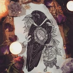Crow and look glass tattoo
