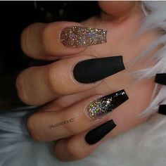 Stunning Nail Art Designs 2020 With Glam Details - Best Acrylic Nails, Ombre Nails, Nail Art Designs, Lipsticks Black Acrylic Nails, Summer Acrylic Nails, Best Acrylic Nails, Black Nails With Glitter, Acrylic Nails Glitter Ombre, Black Ombre Nails, Black Coffin Nails, Matte Black Nails, Black Acrylics