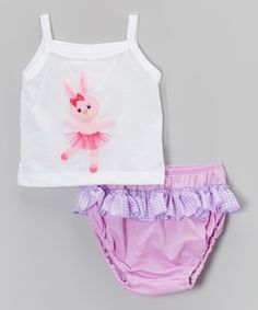 Look what I found on #zulily! White Ballet Bunny Tank & Lilac Ruffle Bloomers - Infant by Victoria Kids #zulilyfinds