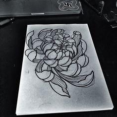 chrysanthemum, flower tattoo project by Kolahari / The Circle London
