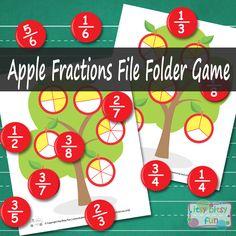 Apple Fractions File Folder Game - Math File Folder Games - Itsy Bitsy Fun free printable
