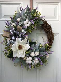 Magnolia Wreath, Magnolia Flower, Fall Wreaths, Spring Wreaths For Front Door Diy, Rustic Wreaths, Wreaths For Sale, Burlap Wreaths, Cotton Wreath, Welcome Wreath