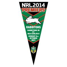 South Sydney Rabbitohs 2014 Premiers Wall Pennant ***PRE-SALE*** - NRL Megastore Rabbits In Australia, Rugby League, Sydney, Wall, Sports, Sport