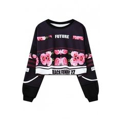 Chic Floral Printed Round Neck Long Sleeve Loose Pullover Cropped... (€22) ❤ liked on Polyvore featuring tops, hoodies, sweatshirts, long sleeve sweatshirts, pullover sweatshirts, floral sweatshirt, crop pullover and loose sweatshirt