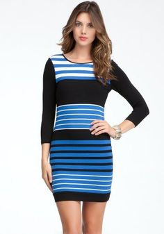 #bebe Colorblock Stripe #Knit #Dress - Price:$98.00