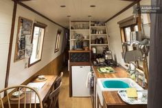 Check out this awesome listing on Airbnb: Stylish Narrow Boat in city centre - Boats for Rent in Bristol Narrowboat Kitchen, Narrowboat Interiors, Small Space Living, Tiny Living, Small Spaces, Canal Boat Interior, Trailers, Canal Barge, Barge Boat