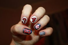 texas rangers Nail Designs For Toenails | baseball # super cute # red # white