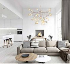 Moooi Heracleum II Small Pendant Bertjan Pot Replica Light is a gorgeous decorative LED fixture plant leaves like design with technique Electrosandwich Apartment Interior, Home Interior, Modern Interior, Apartment Design, Apartment Ideas, Interior Ideas, Cozy Living Rooms, Living Room Decor, Deco Led