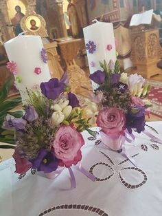 Altar Flowers, Flower Vases, Flower Arrangements, Wedding Flowers, Orthodox Wedding, Candle Centerpieces, Christening, Flower Designs, Candle Holders